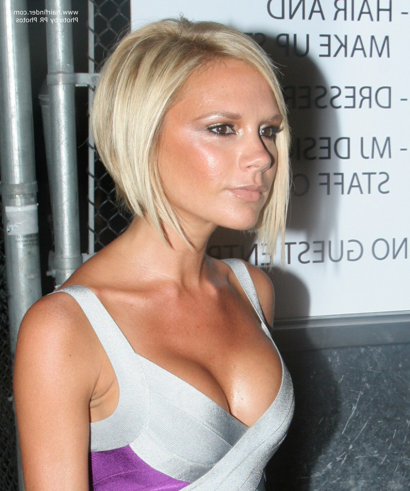 Victoria Beckham Sporting A Blonde Bob With A Shorter Back And Throughout Victoria Beckham Short Haircuts (View 22 of 25)