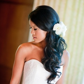 Wavy Hair With Small Flower Crown | Brides In Wavy Ponytails With Flower (View 22 of 25)