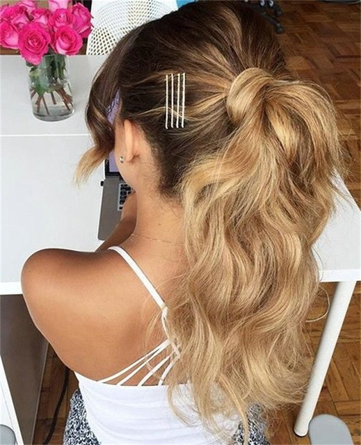 Wavy Human Hair Ponytail Blond 613 Clip In 60 Platinum Blonde Virgin For Wavy Ponytails With Flower (View 5 of 25)