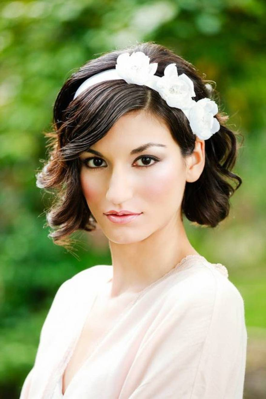 Wedding Hairstyles For Short Hair With Bangs – Wedding Hairstyles Inside Bridal Hairstyles Short Hair (View 14 of 25)