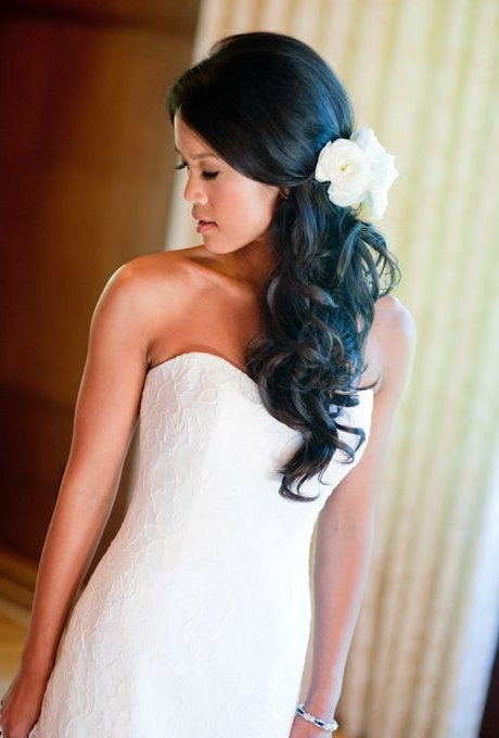 Wedding Hairstyles With Flowers | Wedding Ideas | Pinterest Regarding Wavy Ponytails With Flower (View 9 of 25)