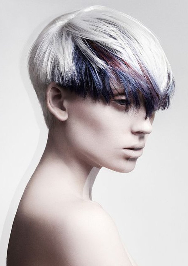 White Hair Color Ideas | Hairstylo Pertaining To White Bob Undercut Hairstyles With Root Fade (View 6 of 25)