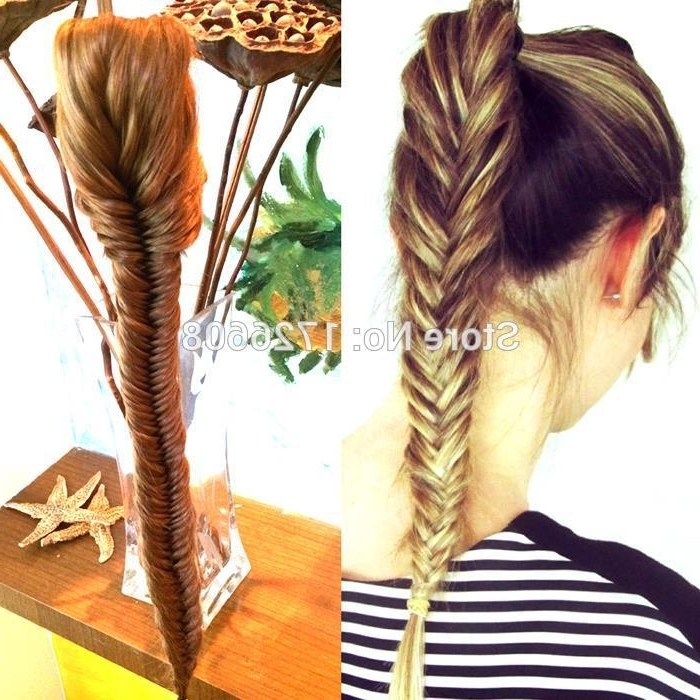 Wholesale New Styling Clip On Synthetic Fishtail Plait Ponytail Long Inside Fishtail Ponytails With Hair Extensions (View 4 of 25)