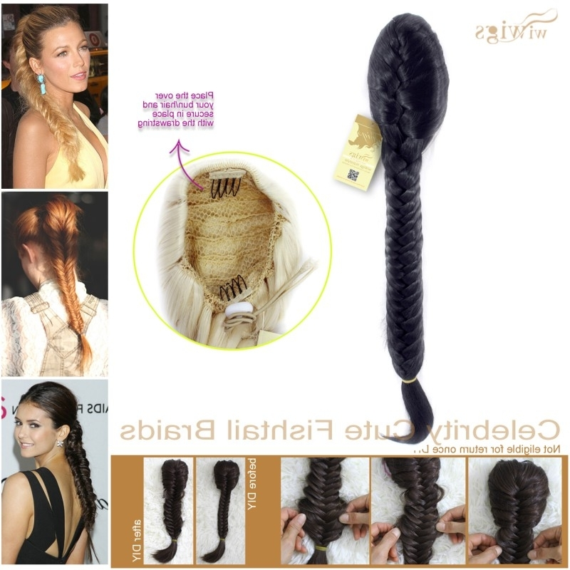 Wiwigs – Celebrity Cute Off Black Fishtail Braids Clip In Ponytail Intended For Fishtail Ponytails With Hair Extensions (View 3 of 25)