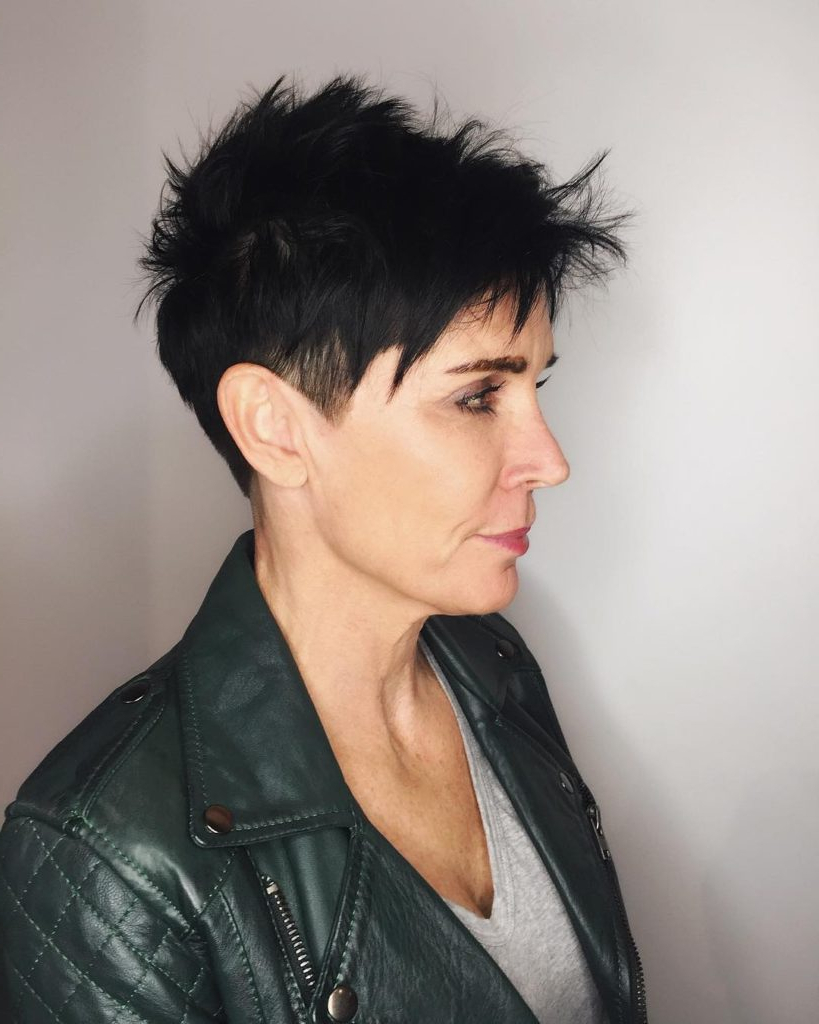 Women's Black Razor Cut Pixie With Spiky Texture And Clean Lines For Razor Cut Short Hairstyles (View 11 of 25)