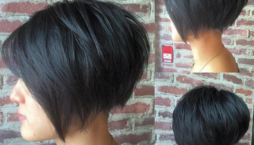 Women's Black Undercut Bob With Choppy Graduated Layers And Shaved Intended For Blue Balayage For Black Choppy Bob Hairstyles (View 23 of 25)