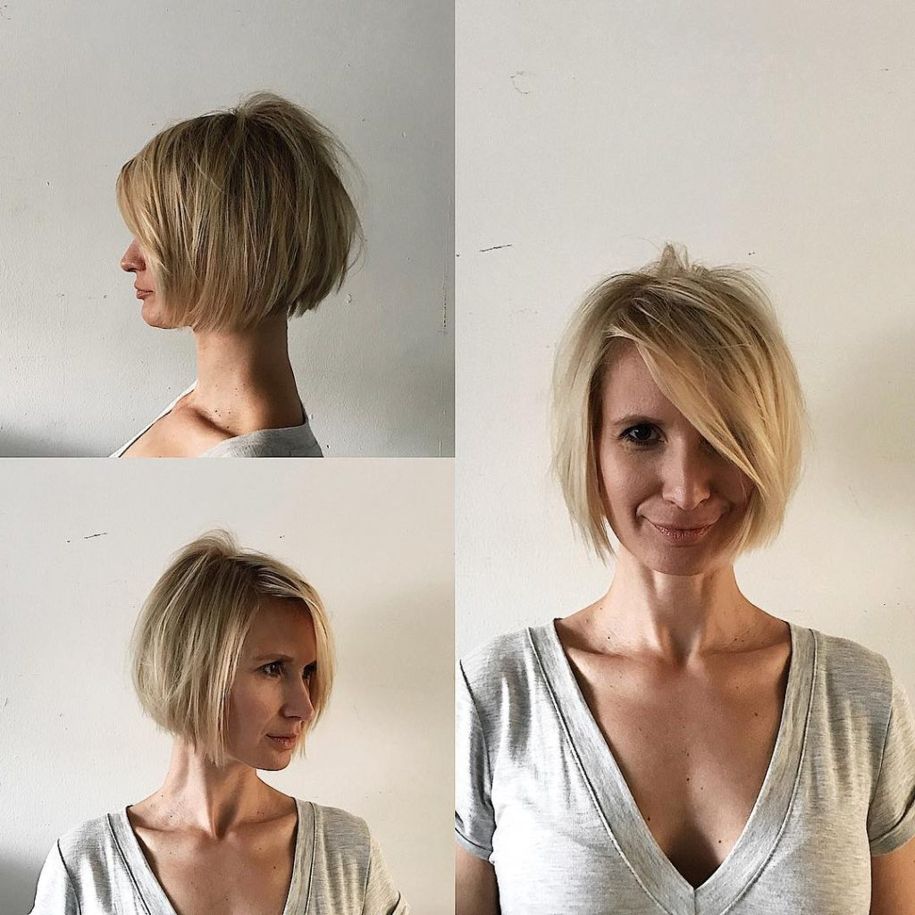Women's Blonde Shaped Bob With Messy Texture And Long Side Swept With Regard To Side Swept Short Hairstyles (View 20 of 25)