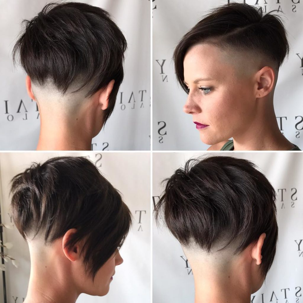 Women's Brunette Choppy Asymmetrical Undercut Pixie Short Hairstyle Pertaining To Choppy Short Hairstyles (View 25 of 25)