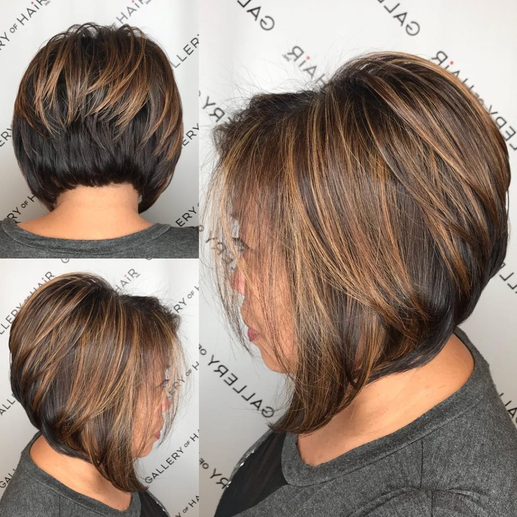 Women's Brunette Stacked Angled Bob With Caramel Highlights Short In Soft Brown And Caramel Wavy Bob Hairstyles (View 10 of 25)