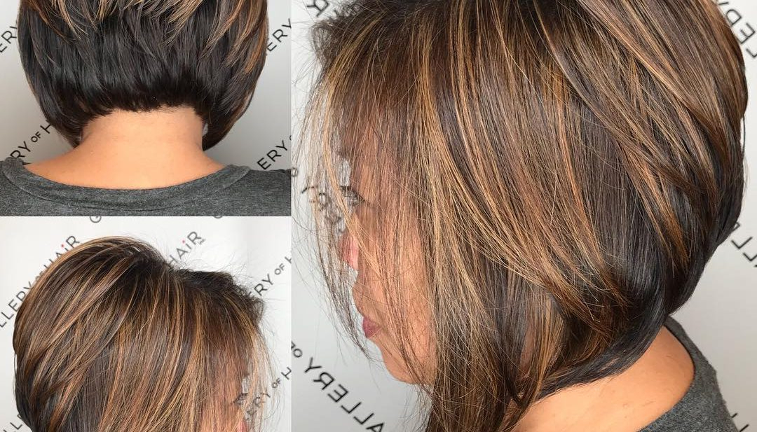 Women's Brunette Stacked Angled Bob With Caramel Highlights Short With Regard To Perfectly Angled Caramel Bob Haircuts (View 24 of 25)