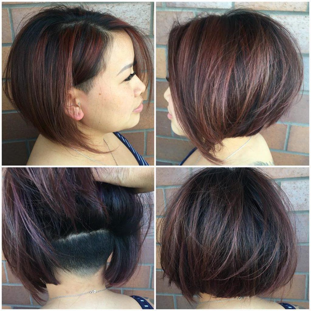 Women's Chic Undercut Stacked Bob On Dark Hair With Burgundy Regarding Burgundy Short Hairstyles (View 4 of 25)
