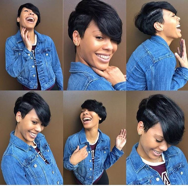 Women's Cute Black Undercut Pixie With Side Swept Bangs With Sweeping Pixie Hairstyles With Undercut (View 14 of 25)