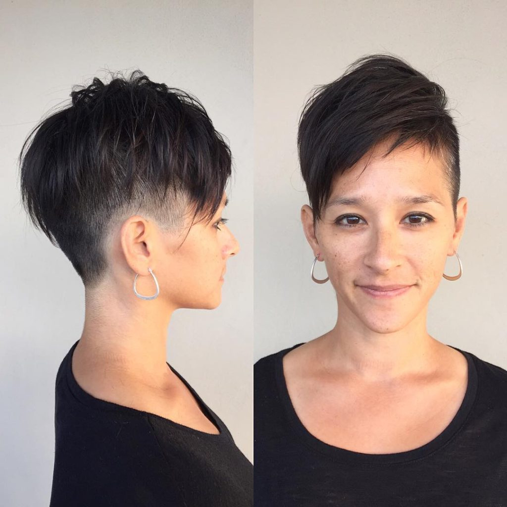 Women's Dark Textured Undercut With Voluminous Undone Fringe And Regarding Short Haircuts Without Bangs (View 9 of 25)