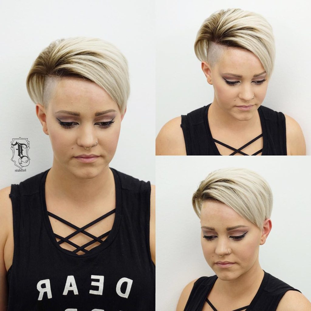Women's Edgy Undercut Pixie With Platinum Color And Brunette Shadow Throughout Platinum Blonde Short Hairstyles (View 23 of 25)