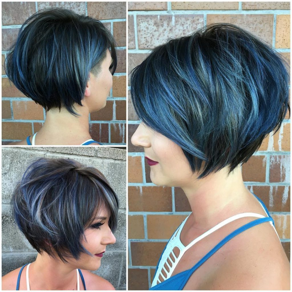 Women's Graduated Messy Textured Bob With Side Swept Bangs And Icy Inside Side Swept Short Hairstyles (View 3 of 25)