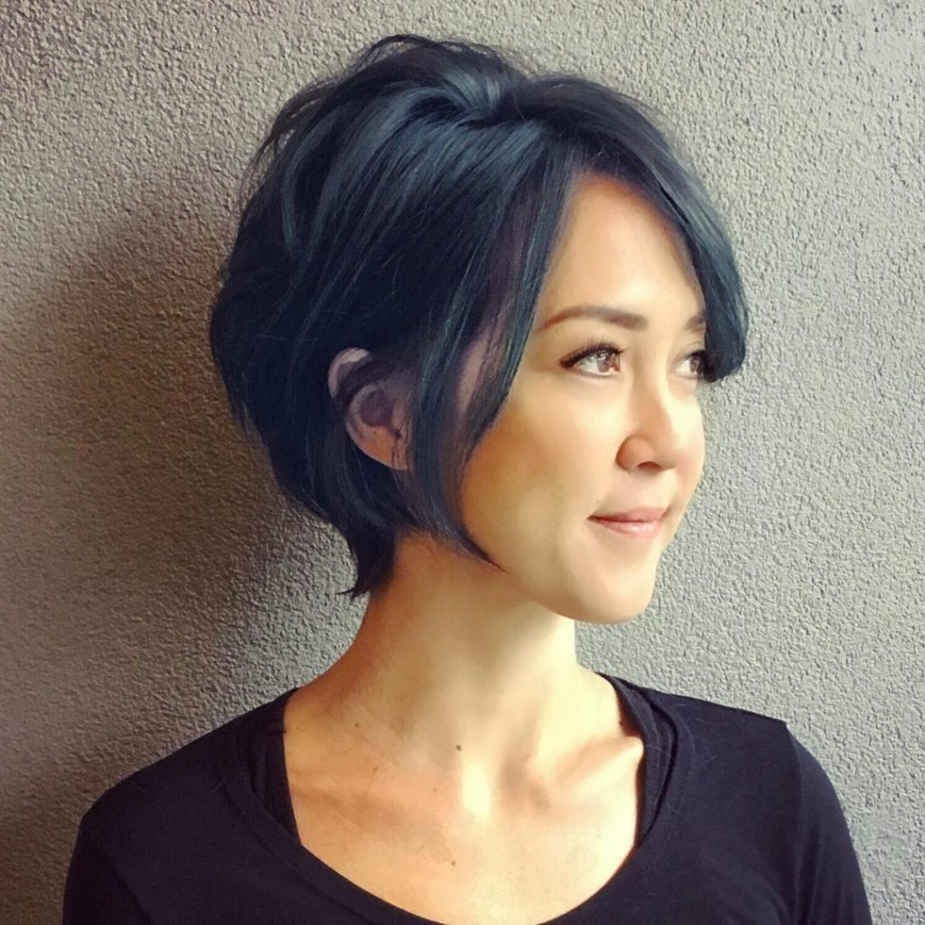 Women's Inverted Razor Cut Bob On Smoky Blue Black Hair With Long In Razor Cut Short Hairstyles (View 9 of 25)