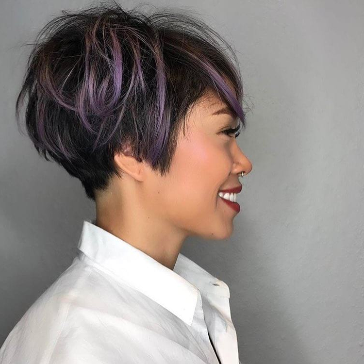 Women's Messy Graduated Pixie On Black Hair With Purple Highlighted With Highlighted Pixie Bob Hairstyles With Long Bangs (View 10 of 25)