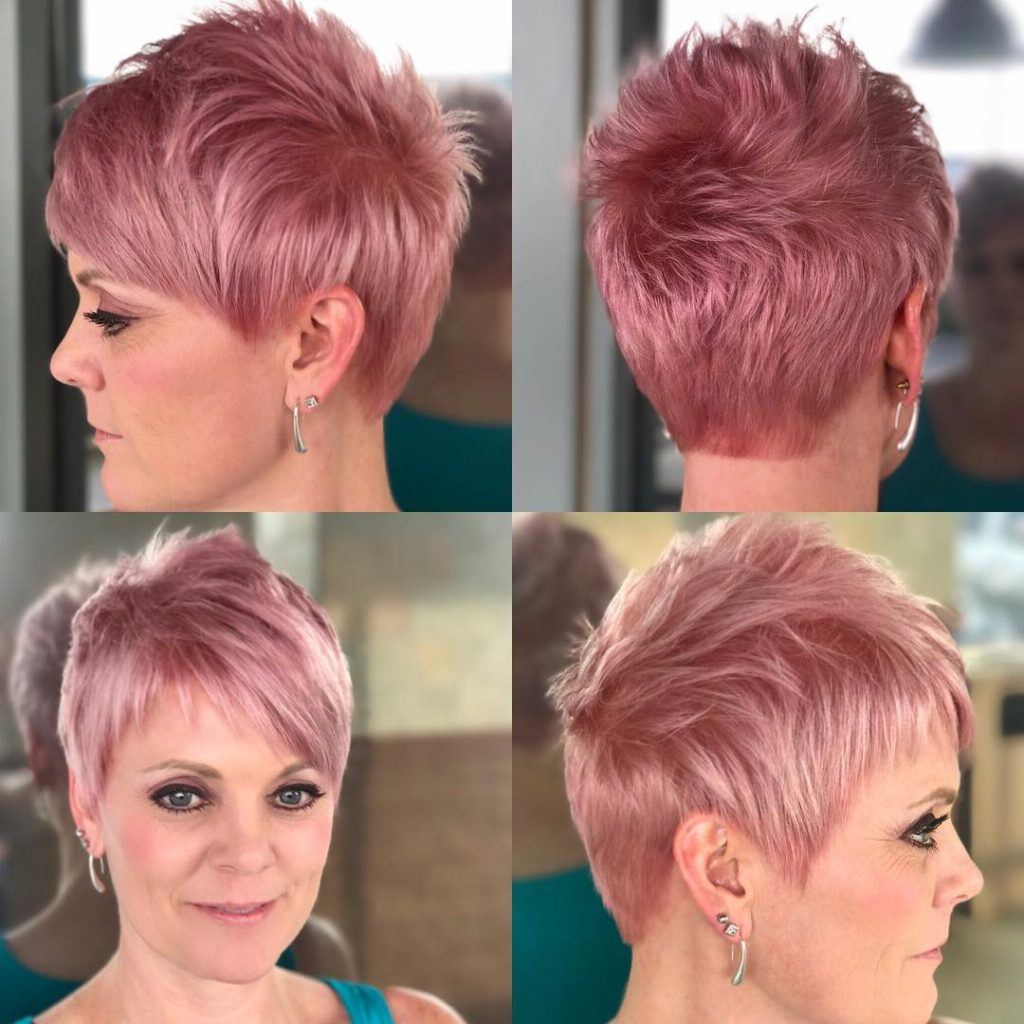 Women's Pink Pastel Razor Cut Textured Pixie With Asymmetrical Bangs Inside Razor Cut Short Hairstyles (View 3 of 25)