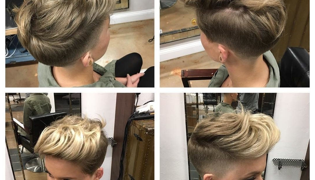 Women's Pinned And Twisted Undercut Pixie On Dark Blonde Hair Intended For Twisted And Pinned Blonde Ponytails (View 25 of 25)