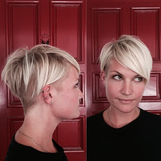 Women's Platinum Side Swept Undercut Pixie With Bangs And Undone Throughout Textured Undercut Pixie Hairstyles (View 18 of 25)