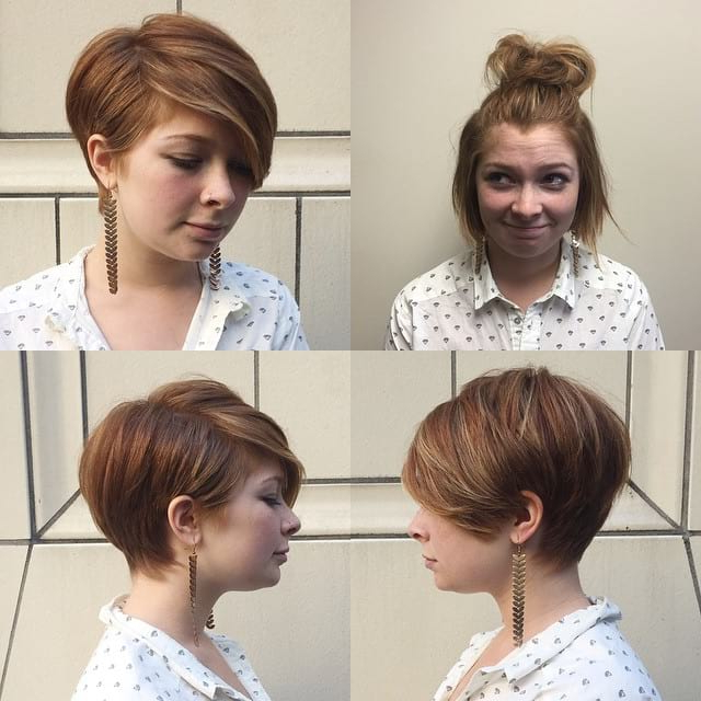 Women's Polished Pixie With Full Side Swept Bangs And Highlights Throughout Highlighted Pixie Bob Hairstyles With Long Bangs (View 24 of 25)