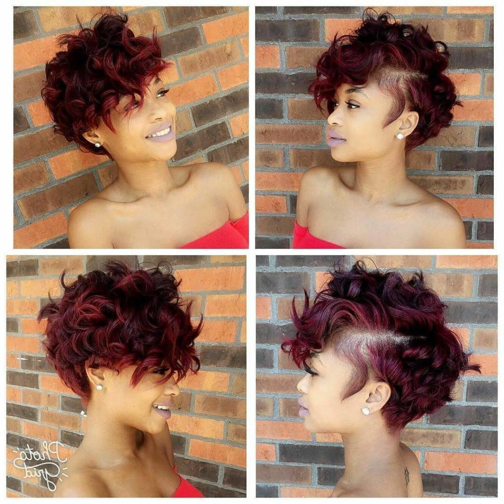Women's Sexy Burgundy Messy Curly Pixie Short Hairstyle Regarding Long Messy Curly Pixie Haircuts (View 5 of 25)