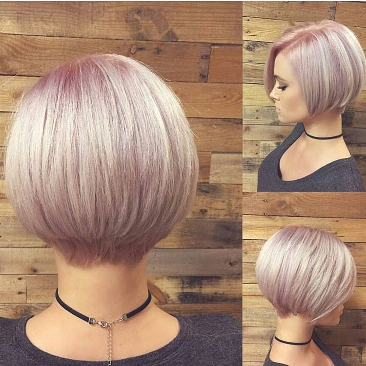 Women's Short Stacked Bob With Pink Pastel Color With Regard To Short Stacked Bob Blowout Hairstyles (View 6 of 25)