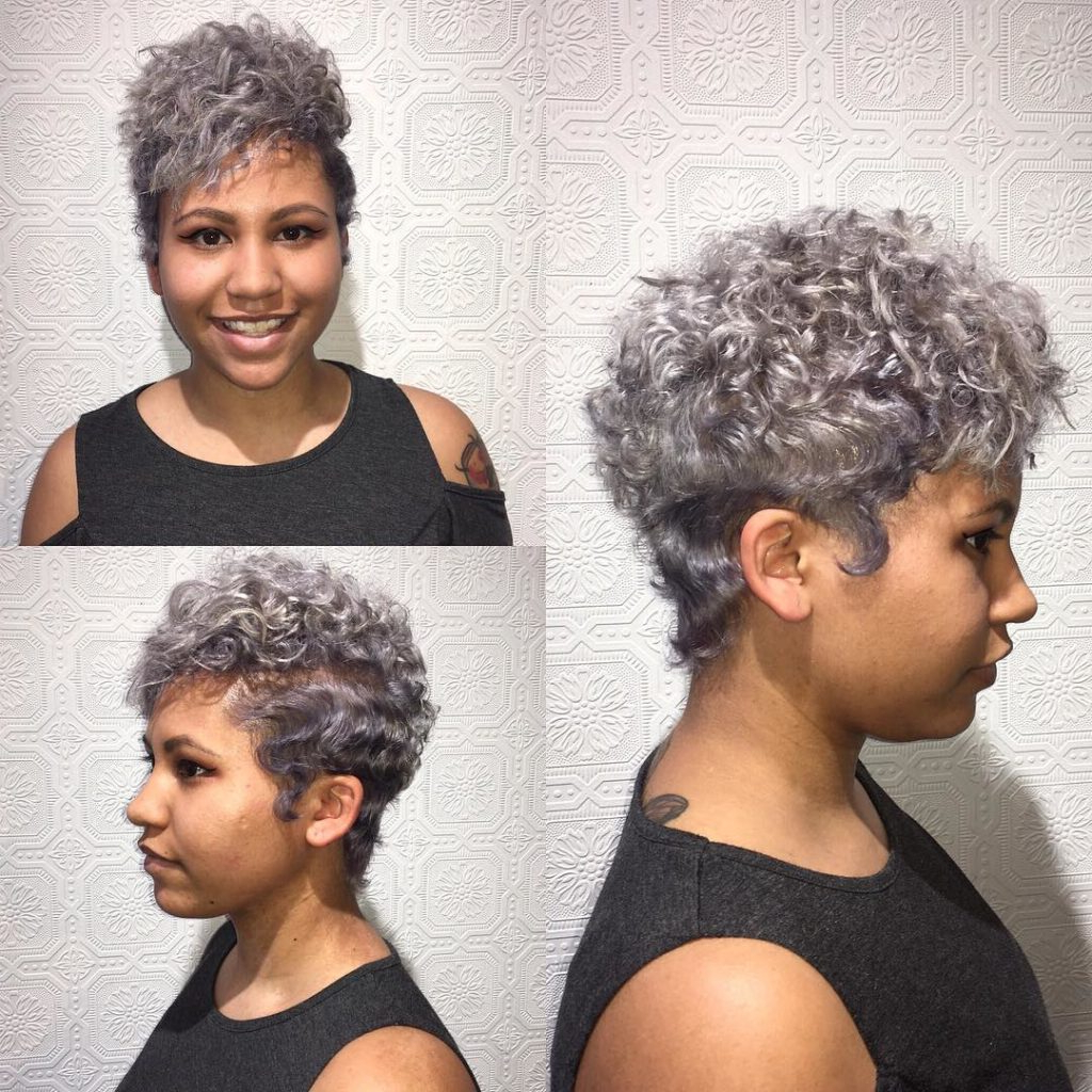 Women's Silver Messy Curly Pixie Cut With Top Volume Throughout Messy Curly Pixie Hairstyles (View 7 of 25)