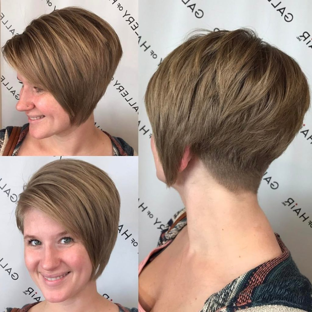 Women's Stacked Asymmetrical Bob With Side Swept Bangs And Tapered Within Asymmetrical Short Hairstyles (View 25 of 25)