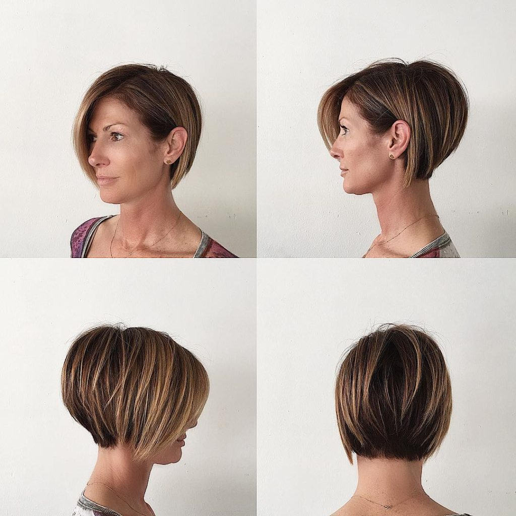 Women's Stacked Layered Bob With Long Side Swept Bangs And Brunette For Short Haircuts Side Swept Bangs (View 25 of 25)