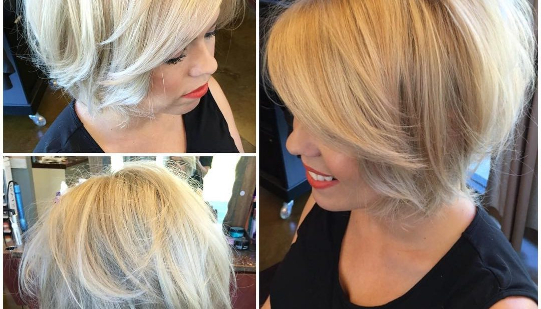 Women's Textured Blonde Blowout Bob With Body And Volume Short Hairstyle Pertaining To Short Stacked Bob Blowout Hairstyles (View 10 of 25)