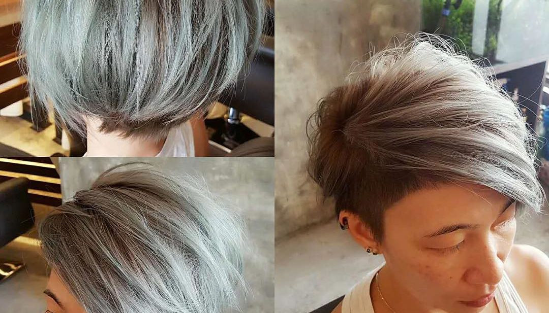 Women's Textured Side Swept Undercut Pixie With Fringe And Silver Color With Regard To Sweeping Pixie Hairstyles With Undercut (View 18 of 25)