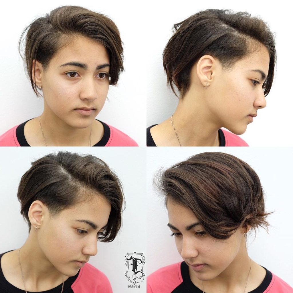 Women's Undone Side Swept Pixie With Tapered Undercut And Brunette Inside Side Swept Short Hairstyles (View 6 of 25)