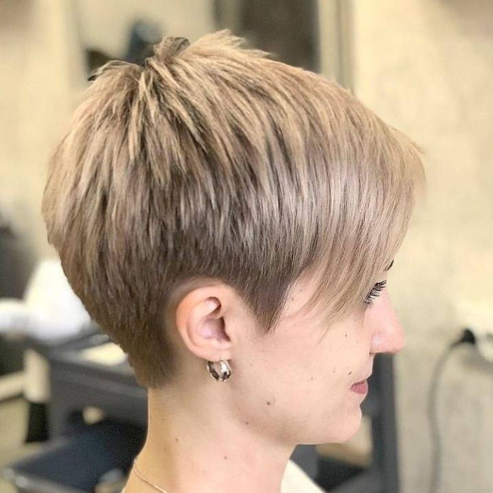 Displaying Gallery Of Choppy Pixie Hairstyles With Tapered Nape