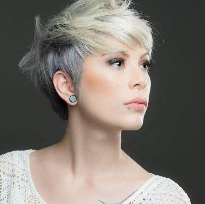 15 Ways To Rock A Pixie Cut With Fine Hair: Easy Short Hairstyles In Cropped Gray Pixie Hairstyles With Swoopy Bangs (View 18 of 25)