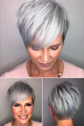 Featured Photo of Cropped Gray Pixie Hairstyles With Swoopy Bangs