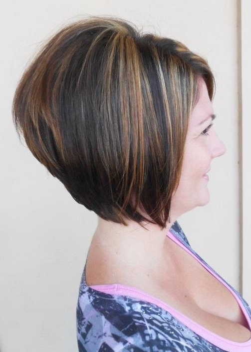2014 Short Stacked Bob Haircut For Women Over 40 – Popular Haircuts In Stacked Bob Hairstyles With Bangs (View 18 of 25)