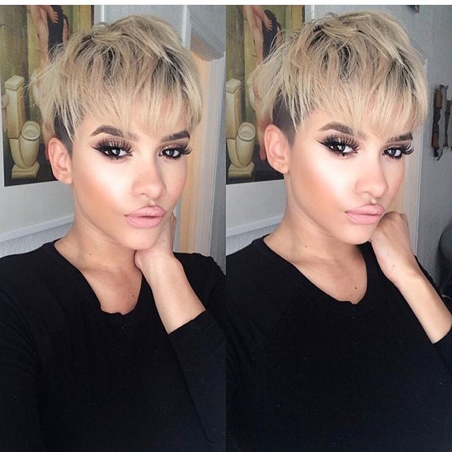 21 Lovely Pixie Cuts With Bangs – Popular Haircuts For Choppy Blonde Pixie Hairstyles With Long Side Bangs (View 4 of 25)