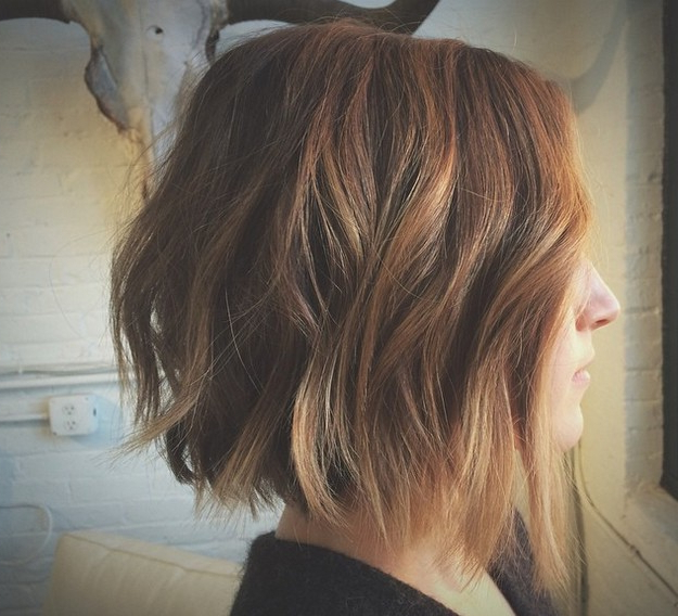 21 Textured Choppy Bob Hairstyles: Short, Shoulder Length Hair For One Length Balayage Bob Hairstyles With Bangs (View 8 of 25)