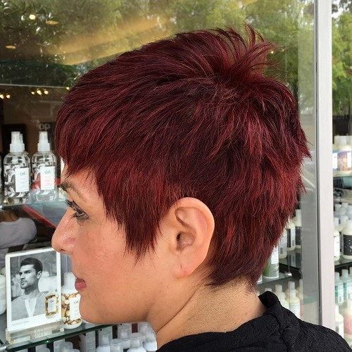 22 Best Colorful Ways To Enhance Your Pixie Haircut 2019 Inside Black Choppy Pixie Hairstyles With Red Bangs (View 24 of 25)