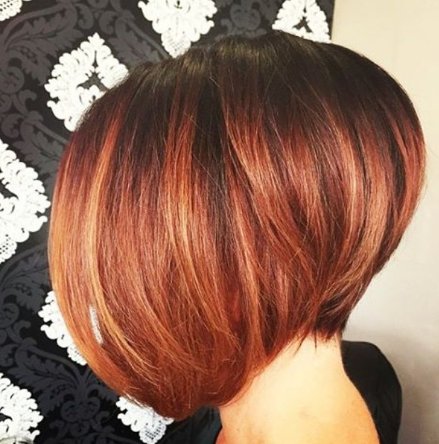 22 Hottest Graduated Bob Hairstyles Right Now – Hairstyles Weekly Inside Burnt Orange Bob Hairstyles With Highlights (View 10 of 25)