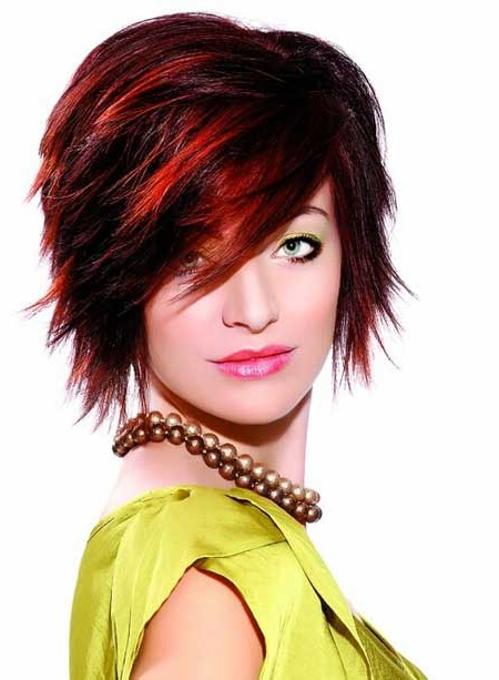 24 Really Cute Short Red Hairstyles | Styles Weekly Intended For Black Choppy Pixie Hairstyles With Red Bangs (View 12 of 25)