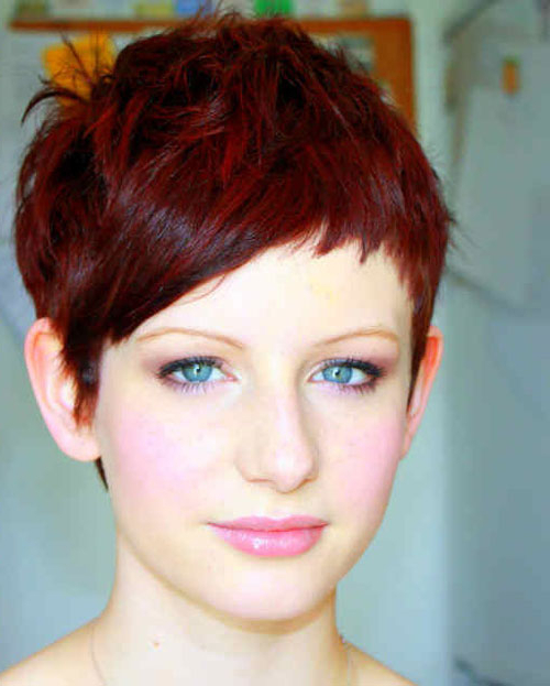 24 Really Cute Short Red Hairstyles | Styles Weekly With Regard To Black Choppy Pixie Hairstyles With Red Bangs (View 16 of 25)