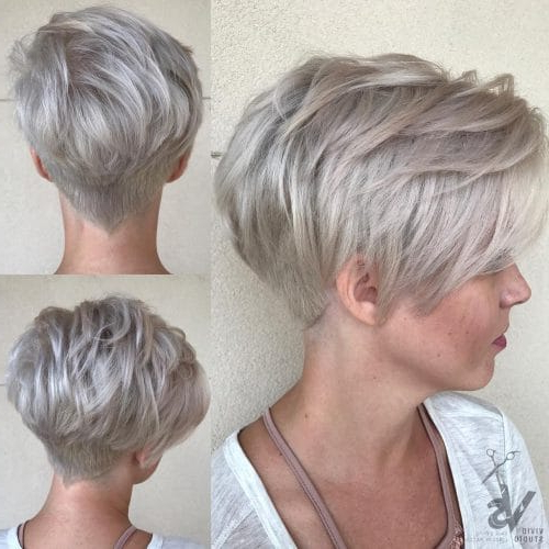 26 Flattering Short Hair With Bangs To Try For 2018 Pertaining To Cropped Gray Pixie Hairstyles With Swoopy Bangs (View 14 of 25)