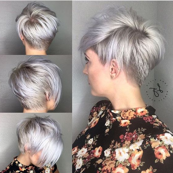 30 Trendy Stacked Hairstyles For Short Hair – Practicality Short With Regard To Silver Pixie Hairstyles For Fine Hair (View 8 of 25)