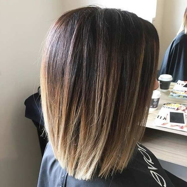 Featured Photo of One Length Balayage Bob Hairstyles With Bangs