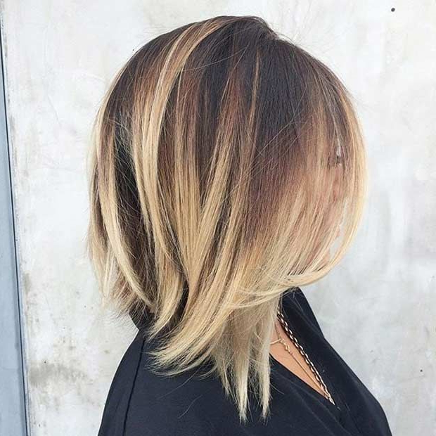 31 Best Shoulder Length Bob Hairstyles | Stayglam Hairstyles With Regard To Blonde Balayage Bob Hairstyles With Angled Layers (View 8 of 25)