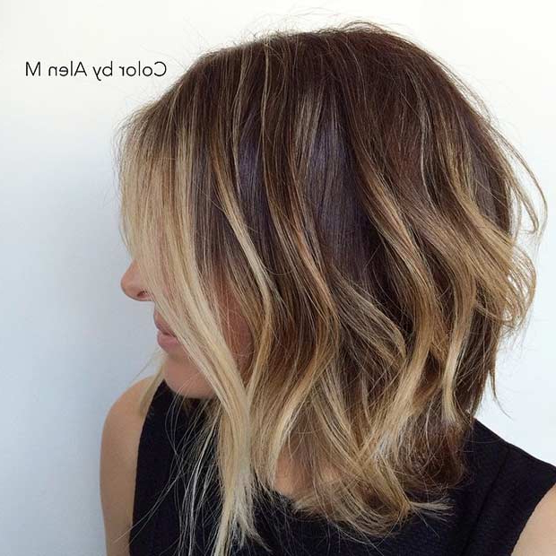31 Gorgeous Long Bob Hairstyles | Stayglam Throughout Blonde Balayage Bob Hairstyles With Angled Layers (View 7 of 25)