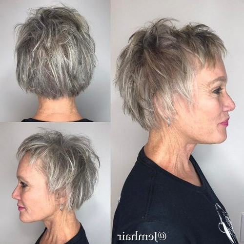 32 Flattering Short Haircuts For Older Women In 2018 In Tapered Gray Pixie Hairstyles With Textured Crown (View 10 of 25)