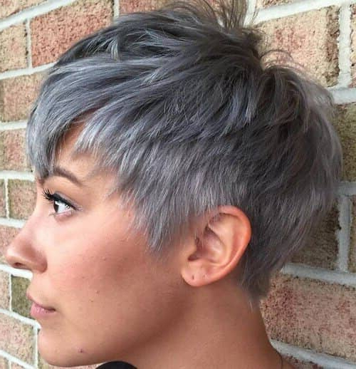 50 Pixie Haircuts You'll See Trending In 2018 Inside Tapered Gray Pixie Hairstyles With Textured Crown (View 11 of 25)